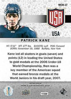 2016 Upper Deck - World Cup of Hockey #WCH-17 Patrick Kane Back