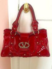 Valentino Garavani Patent Leather Red Crystal Logo V Bag