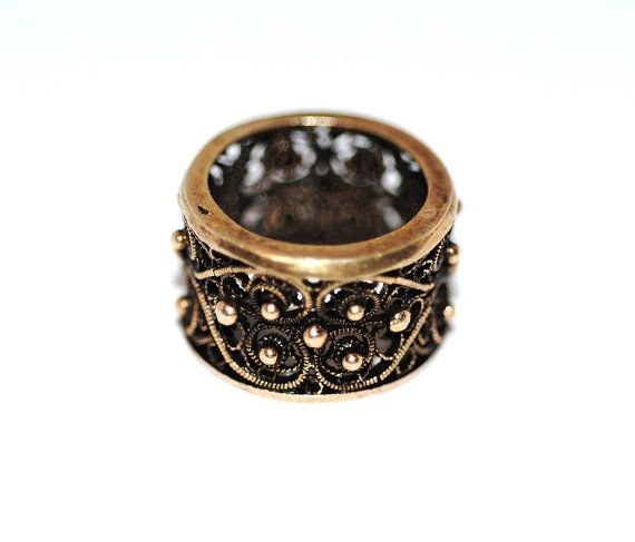 Best Vintage Topazio Intricate Filigree Etruscan Revival Handmade Sterling Silver 1950s Ring, Cigar Band Jewelry Size 5 1/2 Heart Victorian
