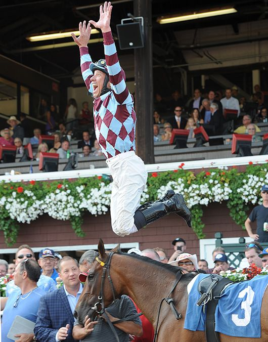 Frankie Dettori's first win at Saratoga. July 18 2014 with Aventure Love.