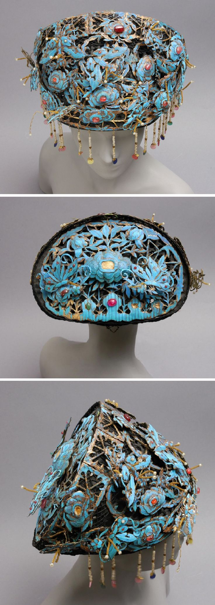 Ceremonial Hat (Kuan), Late 19th century, Chinese, Metal flowers, kingfisher feathers, multicolored beads and stones