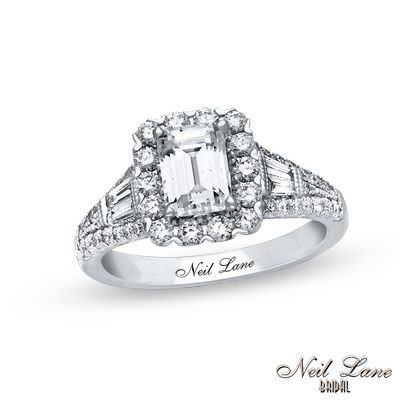 Trendy Neil Lane Bridal Collection CT T W Emerald Cut Diamond Frame Engagement Ring in K White Gold