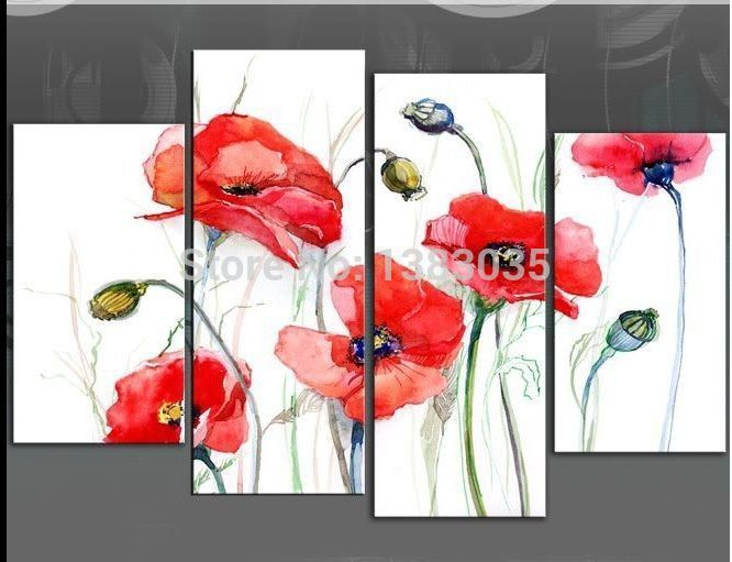 Hand Painted Abstract Red Poppy Painting Flowers Canvas Art 4 Piece Modern Oil Wall Picture Decorations For Living Room Set