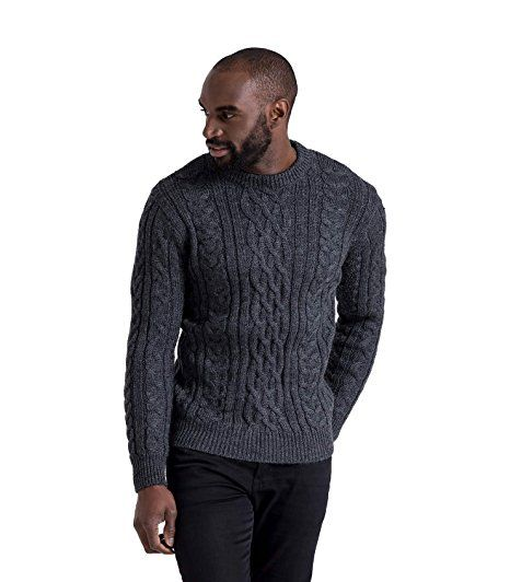 WoolOvers Mens Pure Wool Aran Knitted Sweater Charcoal, S