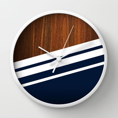 Wooden Navy Wall Clock by Nicklas Gustafsson - $30.00