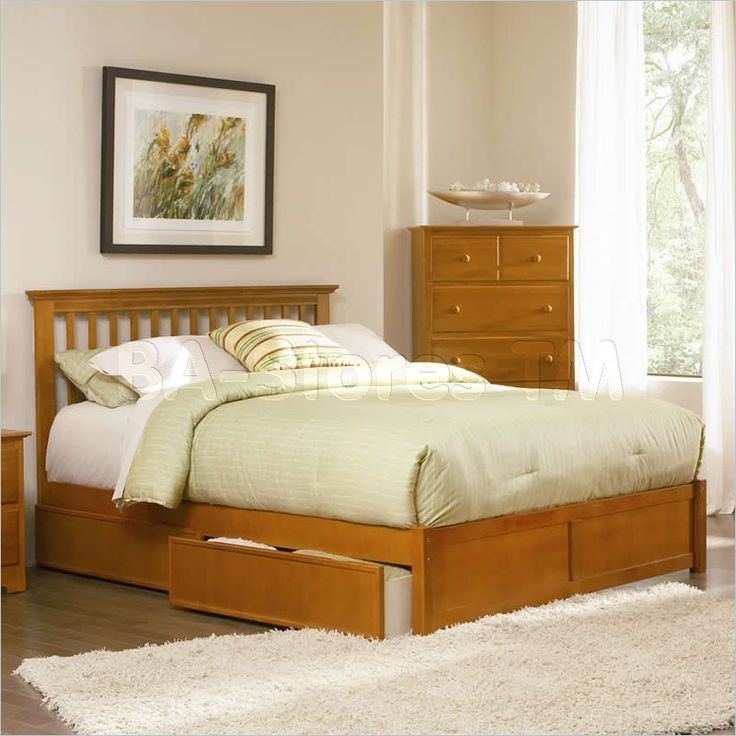 marble top bedroom furniture%0A Studio Mission Storage Bed with Flat Panel Footboard in Caramel Latte  Finish  Atlantic Furniture