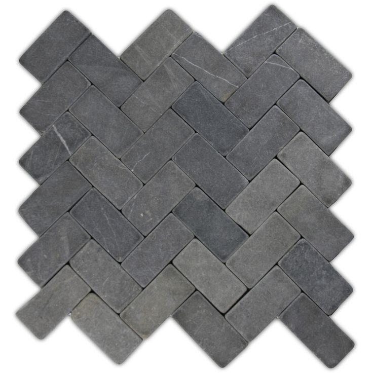 Grey Herringbone Stone Mosaic Tile - Pebble Tile Shop - fireplace hearth