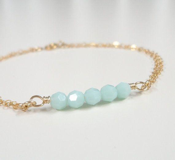 Joyería verde pulsera Simple diaria joyas por JewelrybySivado