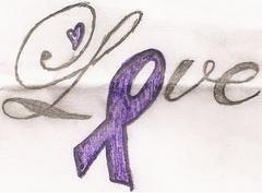 Love and Purple Ribbon Tattoo idea to represent Epilepsy