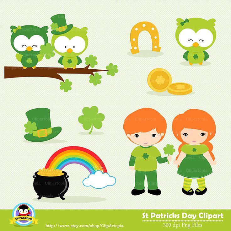 ST PATRICKS DAY Digital Clipart , Saint Patricks Day Clip art, St Patricks day Owls Clipart, Leprechauns Clipart, Instant Download by ClipArtopia on Etsy https://www.etsy.com/listing/181540290/st-patricks-day-digital-clipart-saint