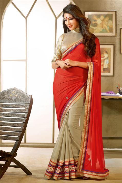 Fawn, Red Georgette Designer Saree with Lace Border