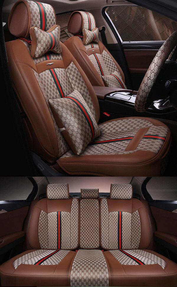Car Seat Covers PU Leather Front Rear Cushion Mess Seat Cover 5-Seats All Season