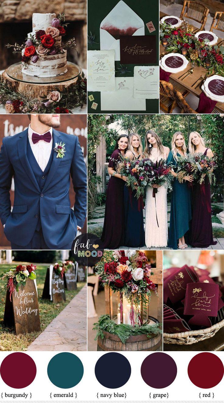 Jewel Toned Wedding Colors {Burgundy + Grape + Emerald + Navy Blue + Red}