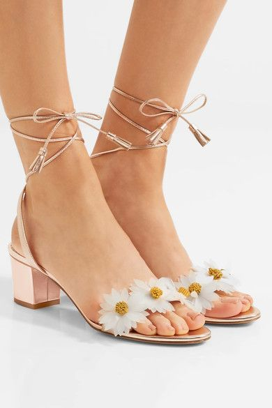 2017ss Rose Gold daisy sandals ankle tasseled ties block-heeled Frosted white and dusty yellow daisy metallic leather sandals