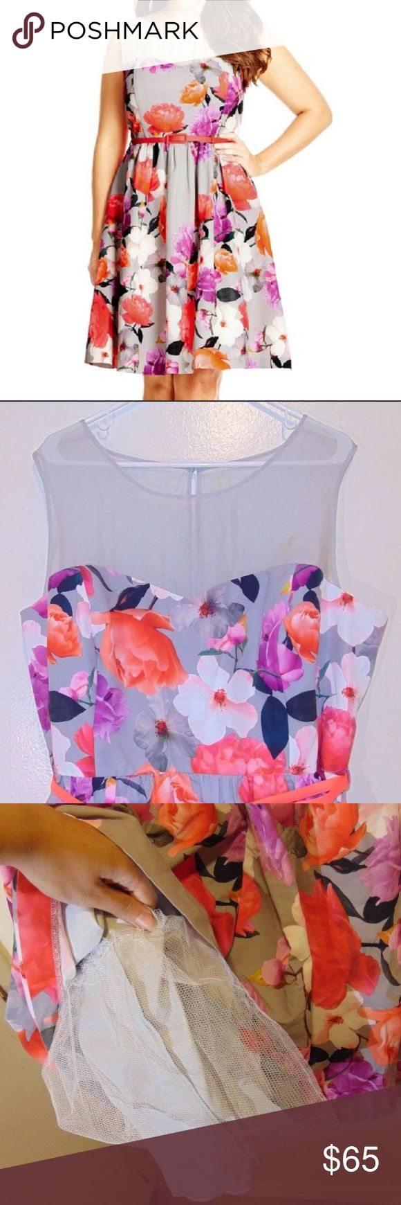 HP- 2/7 🎉🎉🎉 City Chic Floral Dress with Belt Super cute dress for Easter/Spring! Brand new w tags! size 20 in US sizing.    Features Include: - Illusion sweetheart neckline with sheer insert - Detachable pleather belt  - Knee fit and flare skirt  - Invisible centre back zipper with hook and eye fastening  - Peekaboo back feature with single button fastening - Tulle underskirt for extra volume  - Satin feel lining   MAIN: 100% POLYESTER  BODICE LINING: 98% POLYESTER 2% ELASTANE  SKIRT…