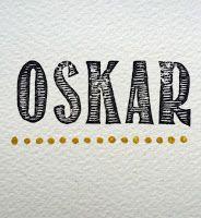 OSKAR Handstamped birth announcement for babyboy Oskar.  Design and handcarved stamps by SalutStefanie