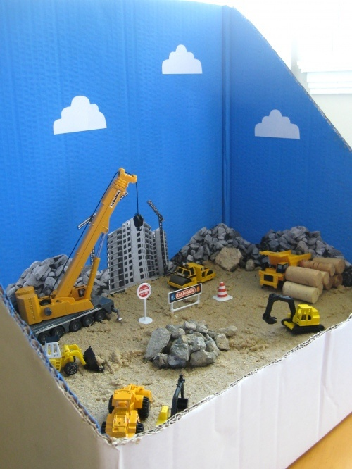 Construction Site Diorama Tutorial. Great rainy day activity for a toddler.