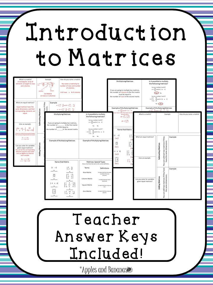 introduction to matrices interactive notebook activities. Black Bedroom Furniture Sets. Home Design Ideas