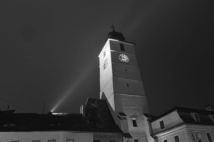 Council Tower in a foggy night. Sibiu, Romania