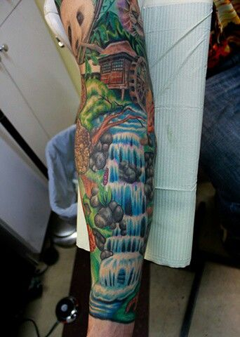 Waterfall tatoo very realistic looking , an idea of what i hope mine will come out looking like
