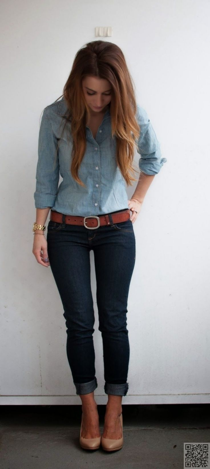 denim shirt and nude shoes