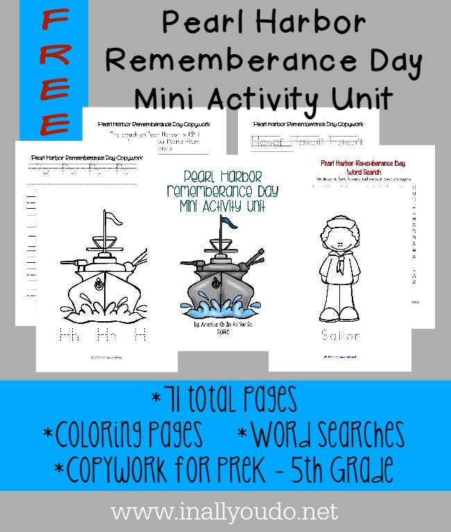 Pearl Harbor Rememberance day is Dec 7th. This mini activity unit includes Coloring Pages, Copywork and Word Searches! 71 TOTAL PAGES