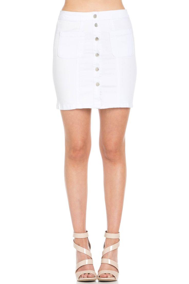 Button Up White Jean Mini Skirt