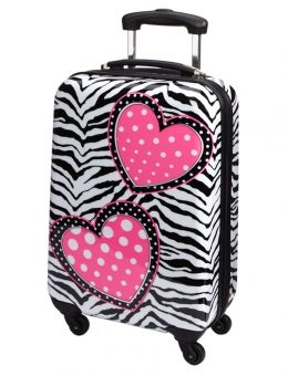 Zebra Heart Hard Shell Suitcase Girls Luggage Suitcase Travel Bags
