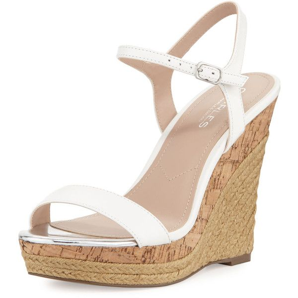 Charles By Charles David Arizona Leather Wedge Sandal ($47) ❤ liked on Polyvore featuring shoes, sandals, wedges, heels, white, ankle strap sandals, strappy leather sandals, open toe wedge sandals, wedge sandals and white sandals