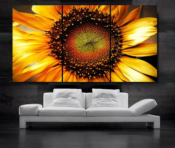 """LARGE 30""""x 60"""" 3 Panels Art Canvas Print beautiful Sunflower Floral Flower Yellow Wall Home decoration (Included framed 1.5"""" depth) on Etsy, $119.00"""