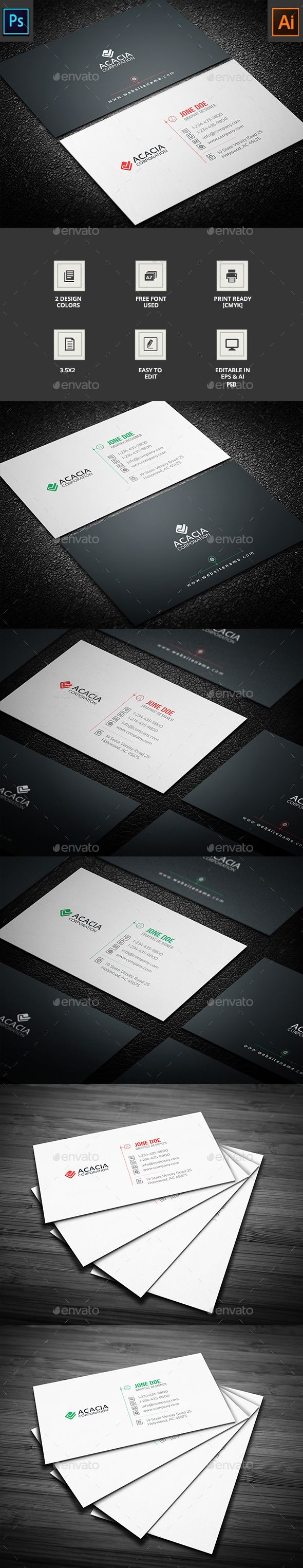 Business Card - #Corporate Business Cards Download here: https://graphicriver.net/item/business-card/16913055?reff=classicdesignp