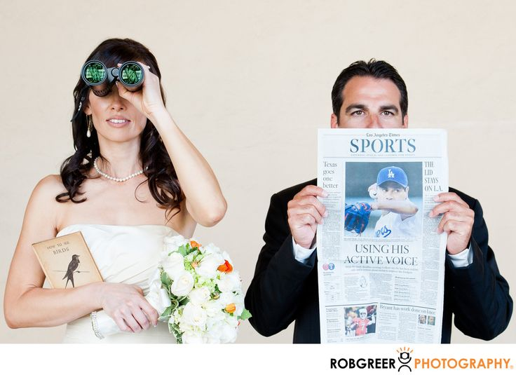 Rob Greer Photography - Fun Caltech Wedding Portrait of Birdwatcher Bride: This photograph of a wedding couple was taken at Caltech and includes several props that speak to the personality and interests of the bride and groom. Both of these lovely individuals teach in a nearby high school. The bride teaches biology and is an avid birdwatcher. The groom is a coach and an avid sports fan. There are several things about this photograph from a storytelling perspective that I particularly enjoy…