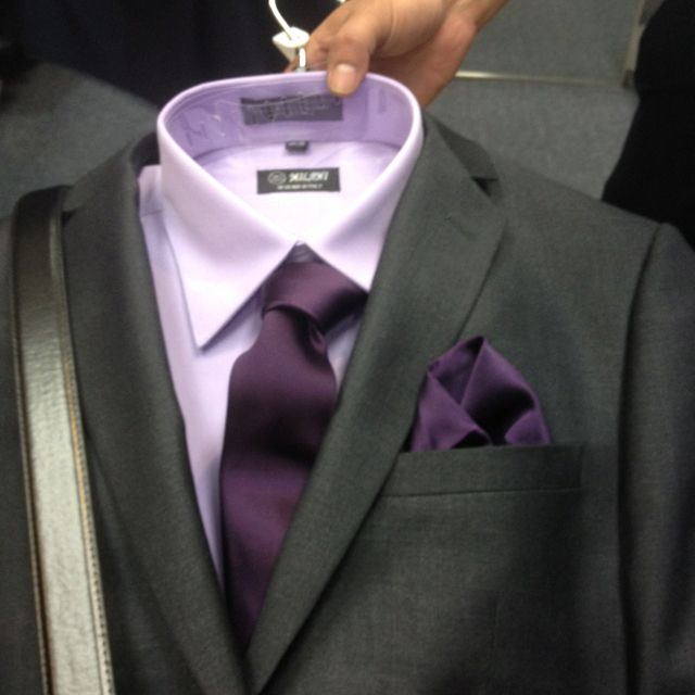 Groomsmen Suits. only with blue shirt and darker blue tie or possibly the dark purple tie....