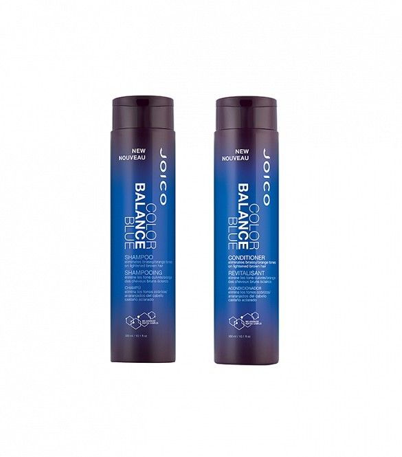 Joico Color Balance Blue Shampoo and Conditioner ($16 - $18)  If you're a brunette who's lightened her strands, you'll know the struggle it is to steer clear of brassy territory. Introducing: Joico's new blue-pigmented shampoo, especially designed to help tone down orange and reddish tones for brunettes who have gone lighter (read: a whole lot of people).