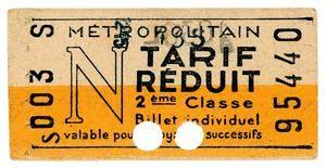 """Ticket de carnet de tarif N de 2 ème classe – tarif réduit """" familles nombreuses""""- 1948"""