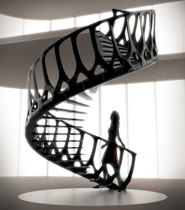 Spiral staircase inspired by a whale's spine
