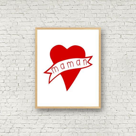 Love Wall Art Rouge et Blanc Digital Art Maman par MamzelleJules