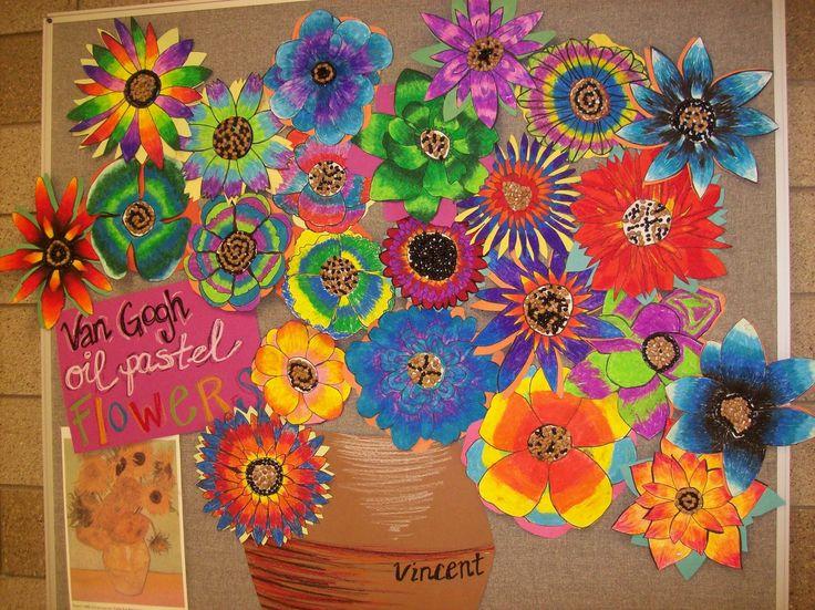 Autour d'un travail sur Van Gogh. Chaque élève crée une fleur, la colorie avec des pastels à l'huile. On obtient une très jolie composition :-)