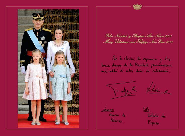 spanishroyals: Spanish Royal Family Christmas Card 2014-with the family signatures King Felipe-Felipe R, Queen Letitia-Letizia R, Leonor-Princess of Asturias, and Cristina-Infanta of Spain