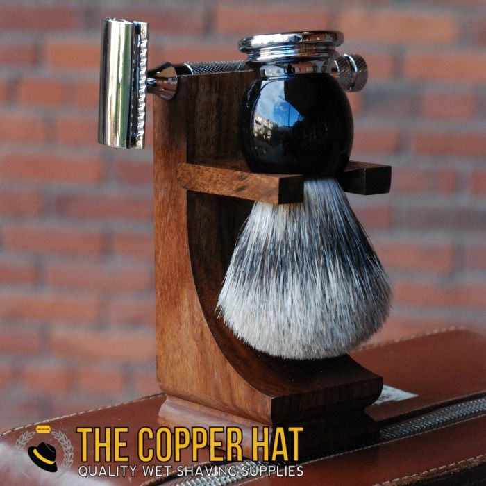 Mission Wood Brush & Razor Stand - The Copper Hat