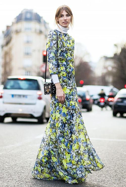 Modest Floral Dress with Turtle Neck