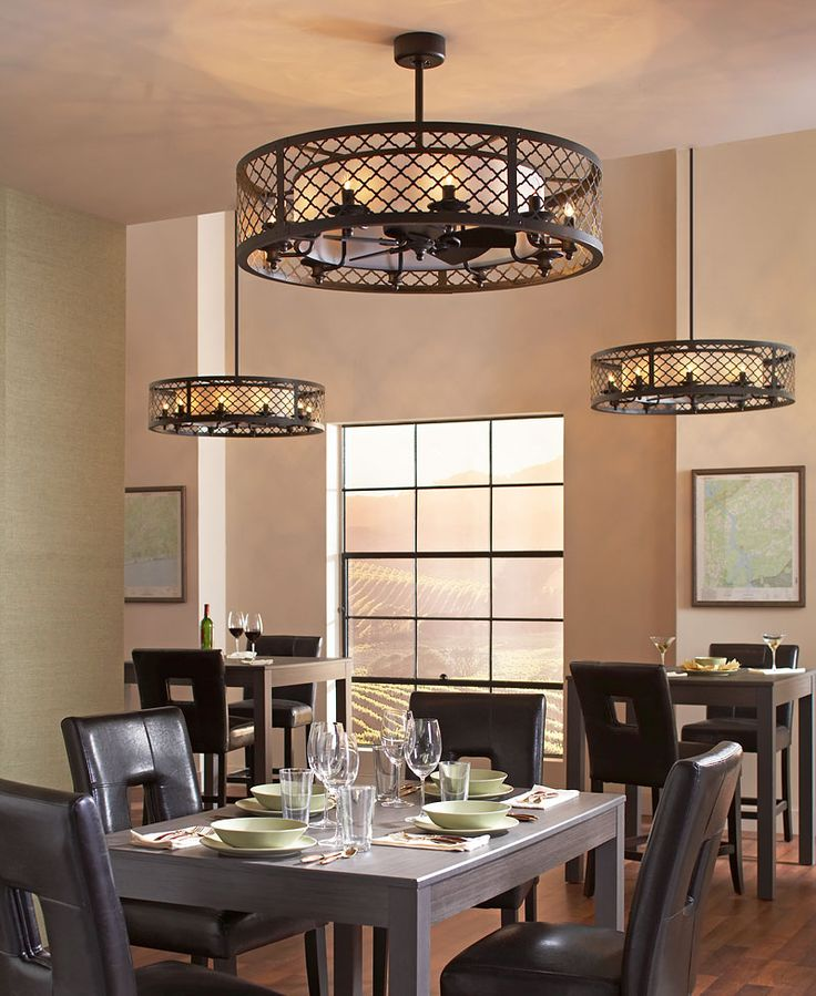 "The unique design of the Brighton Court ceiling fan is classified as a ""fandelier"" – a decorative exterior shade covering a small, gentle fan within. The outer basket weave metal shade has a high-end, rustic look inspired by the Mountain Luxe design trend. The inner fabric shade conceals the fan and is surrounded by ten integrated lights using candelabra bulbs. #MonteCarlo #CeilingFans #Fandelier"