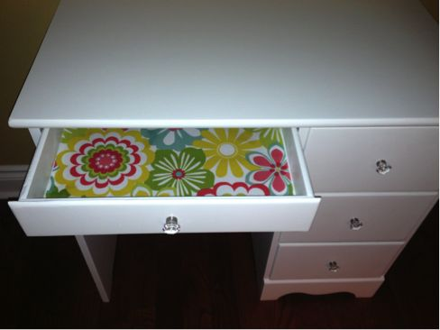Refinished Maple Desk After: Flowered Fabric lined drawers added the finishing touch to this piece which sold for $160.