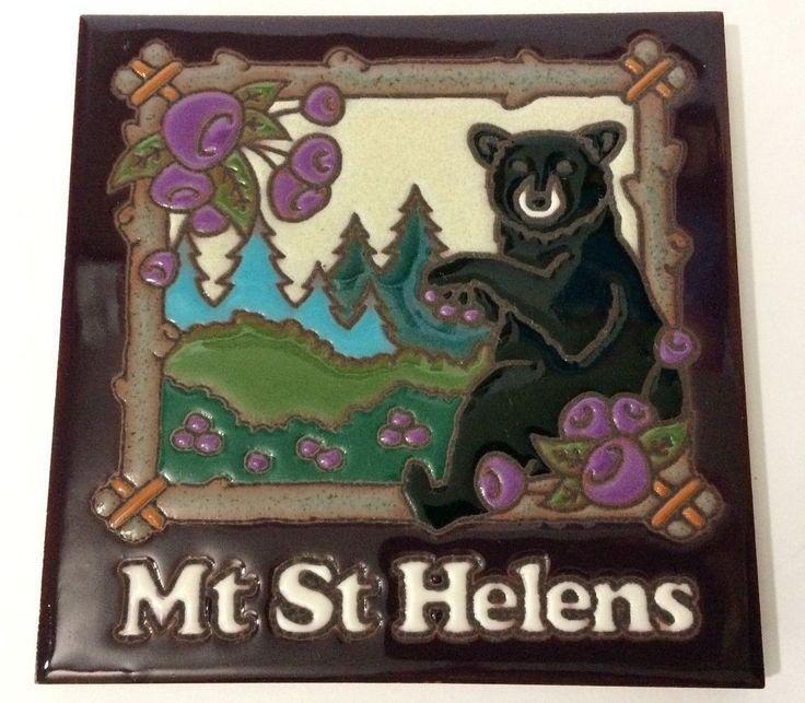 "6"" x 6"" Masterworks Mt St Helens WA USA Bear Tile Trivet Coaster Wall Art #Masterworks #bear #helens #volcano #cooking #decor"