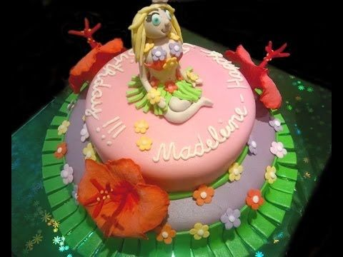 (806) Hawaii cake with Hula girl and Hibiscus flowers - YouTube