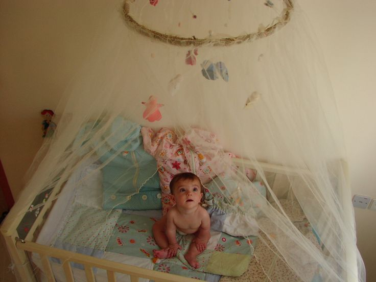 Baby bed canopy crib mosquito net peach shades fairies by for Hanging canopy over bed