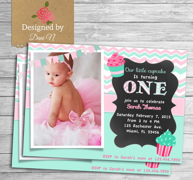 New to DesignedbyDaniN on Etsy: Girl first birthday invite mint and pink cupcake birthday 1st birthday any age birthday photo printable invite sweets chalkboard (15.00 USD)