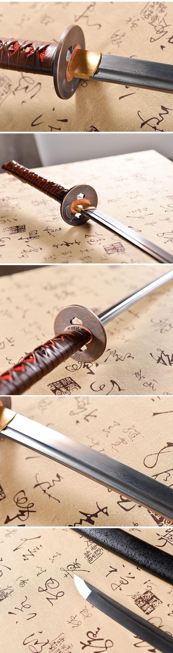 hand forged full tang damascus steel blade Katana