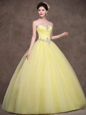 Strapless Yellow Tulle Quinceanera Ball Gown Dress   JoJos Dress