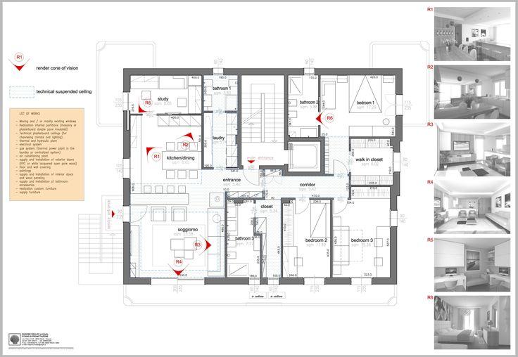 Tavola generale del progetto con coni visuali delle viste rendering